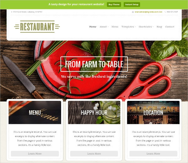 Delicious Food Restaurant Website Theme $69