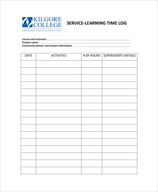 service learning daily time log template