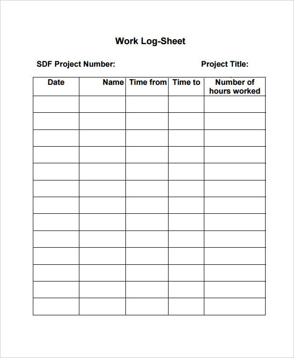 Work Log Template   Free Word Excel Pdf Documents Download