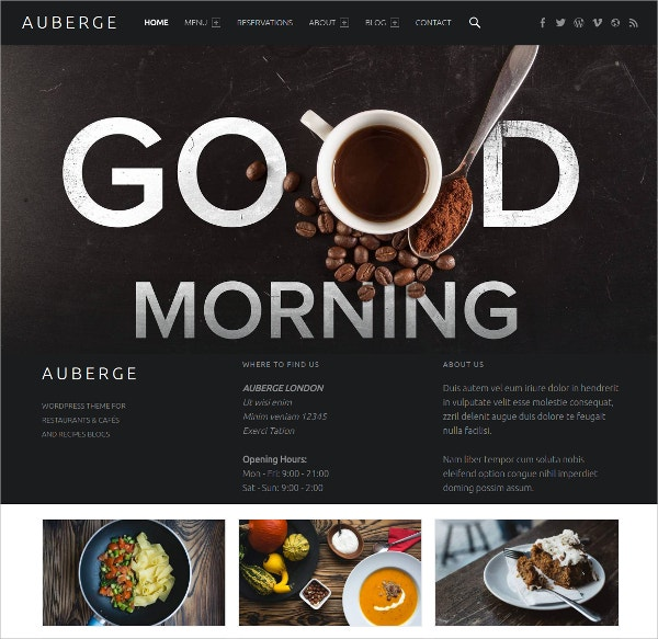 Premium Free Restaurant WordPress Theme