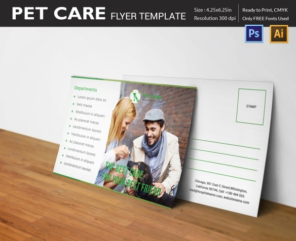 Pet Care Postcard Template Design