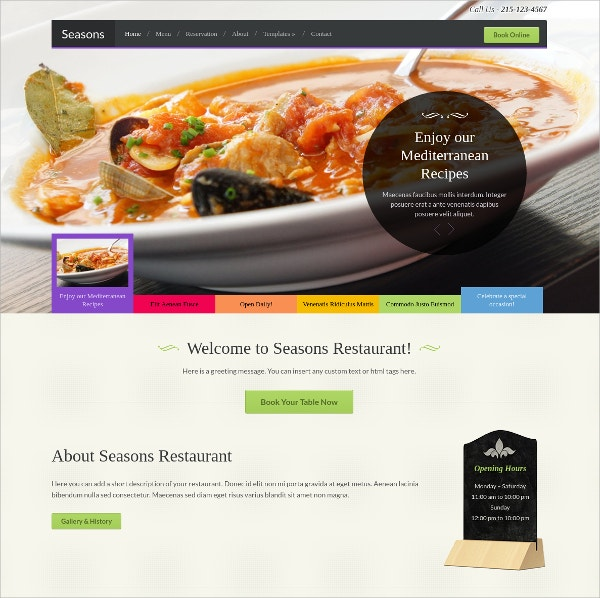 Excellent Food Restaurant WordPress Theme