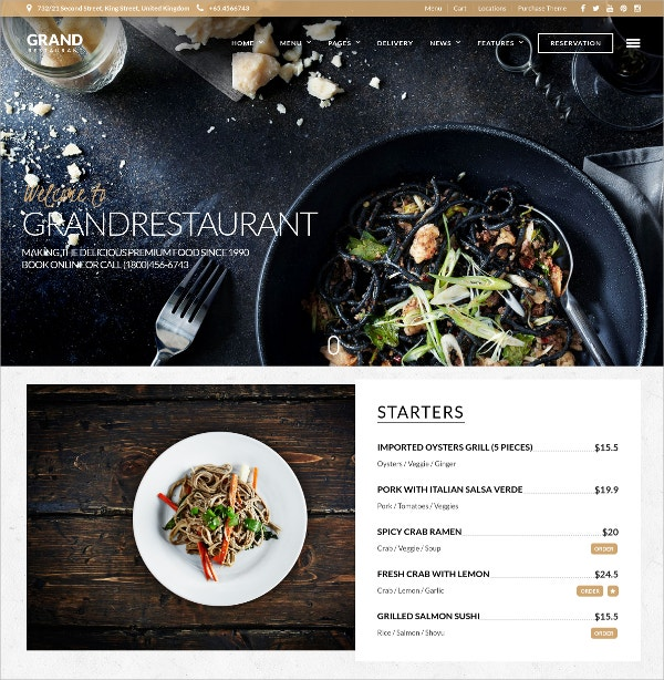 Stylish Food & Restaurant WordPress Theme