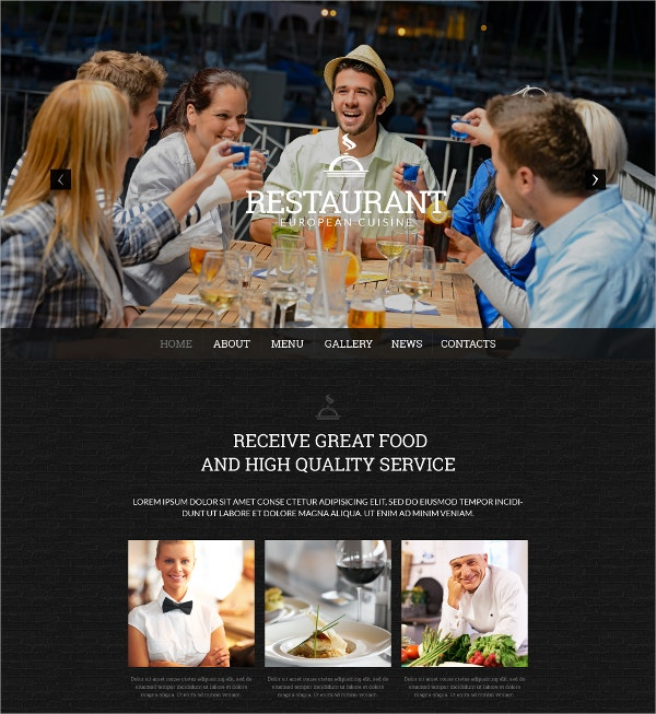 Cafe And Restaurant WordPress Theme $75
