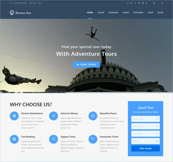 Adventure Tours WordPress Tour & Travel Theme $59