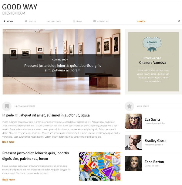 Art Gallery Room WordPress Website Theme $75