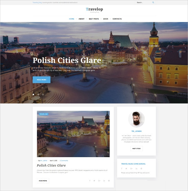 Traveling Blog WordPress Theme $45