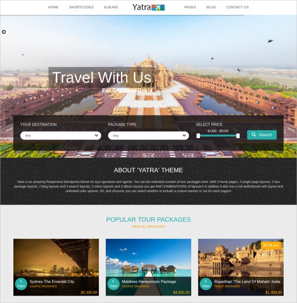 Yatra Travel Booking WordPress Theme $50