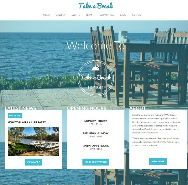 Restaurant One Page WordPress Website Theme $39