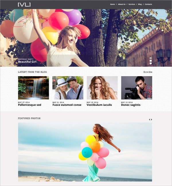 Beauutiful Photography & Videography WordPress Theme $75