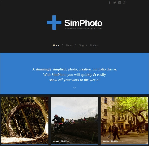 Impressive Minimal Photo WordPress Website Theme $25