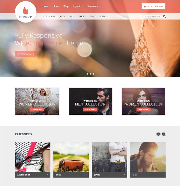 Fully Responsive eCommerce WordPress Website Theme $39