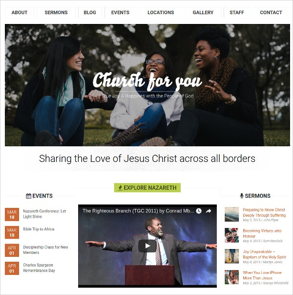 Design Church WordPress Website Theme $49