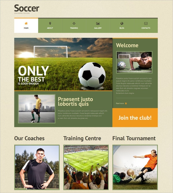 Soccer Sports Responsive WordPress Theme $75