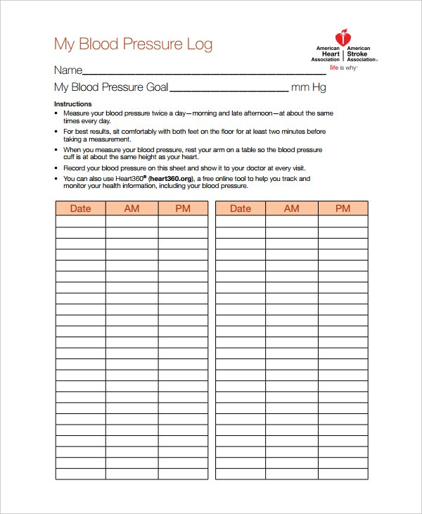 blood pressure log template  u2013 10  free word  excel  pdf