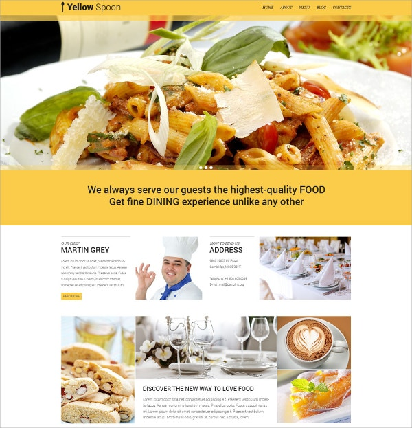 Restaurant Management WordPress Website Theme $75