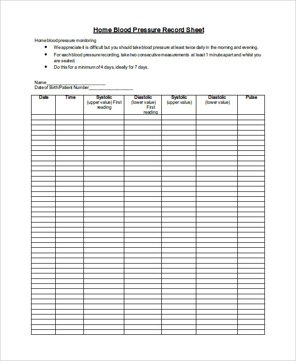 blood pressure log print out