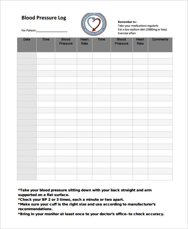Blood Pressure Log Template 10 Free Word Excel PDF Documents – Sign in Sheet for Doctors Office Templates