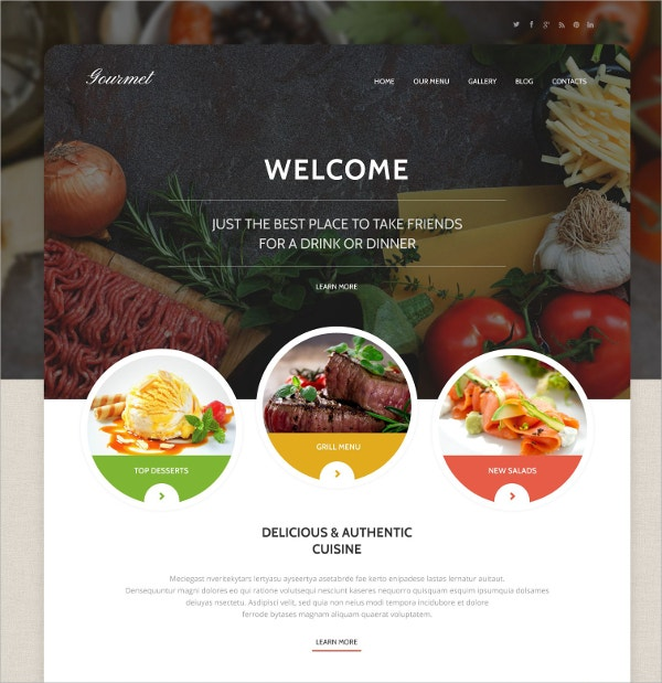 Cafe & Restaurant WordPress Website Theme $79