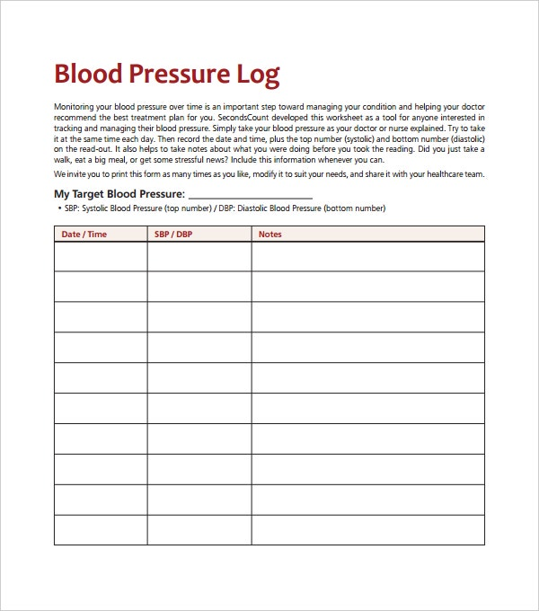 Blood Pressure Log Template – 10+ Free Word, Excel, PDF Documents ...