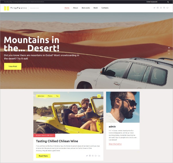 Travel Blog Responsive WordPress Theme $45