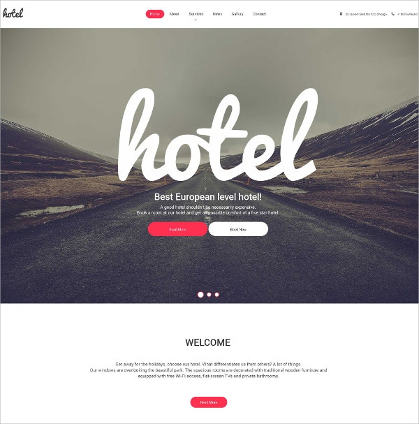 Hotel Responsive WordPress Theme $75
