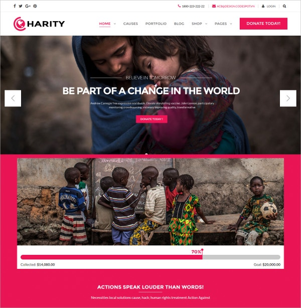 Responsive Charity WordPress Theme $59
