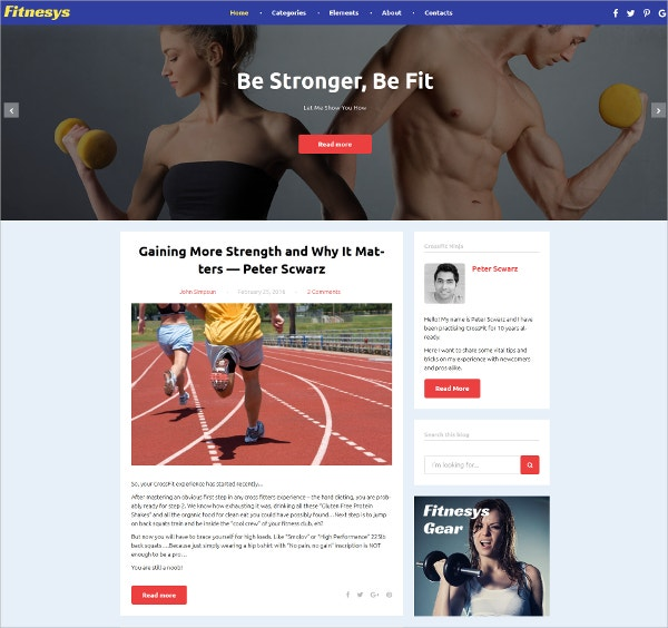 Fitness Blog Responsive WordPress Theme $45