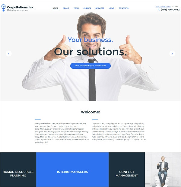 CorpoRational & Business Responsive WordPress Theme $75