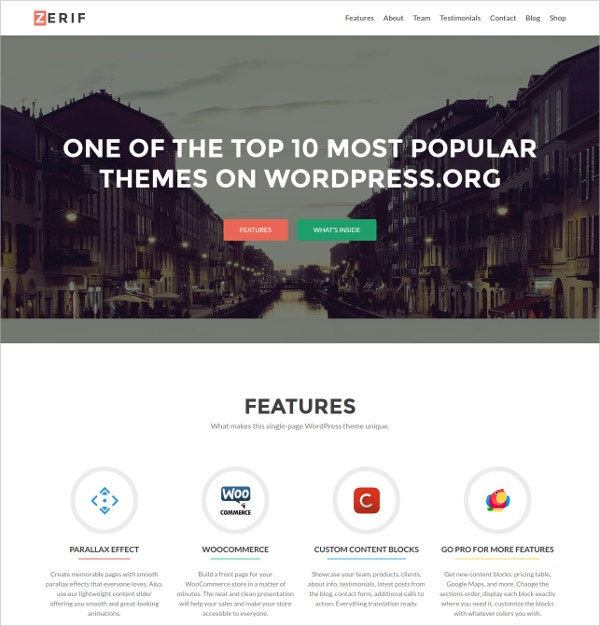 Stunning Responsive Free One Page WordPress Website Theme
