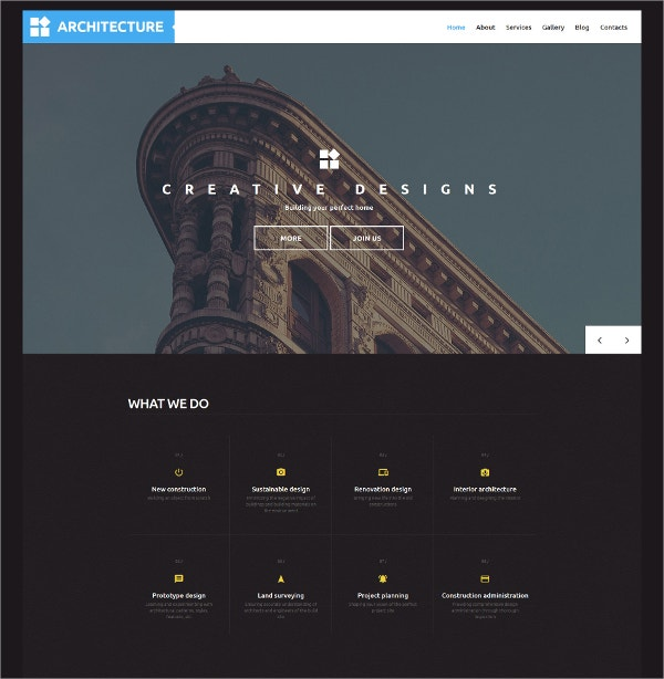 Architecture Responsive WordPress Theme $75