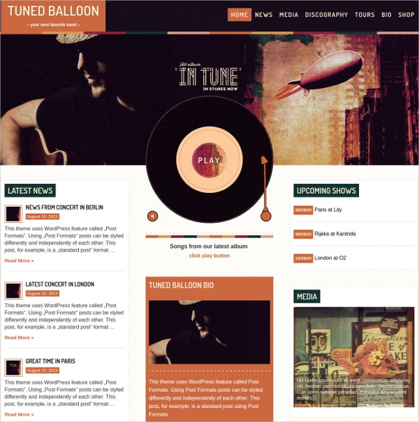 Simple Music WordPress Theme $59