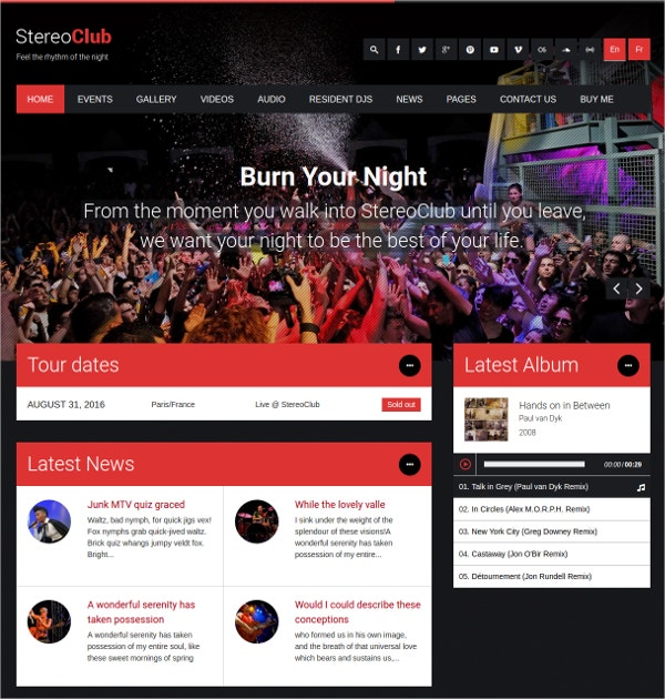 Modern Night Music Club WordPress Theme