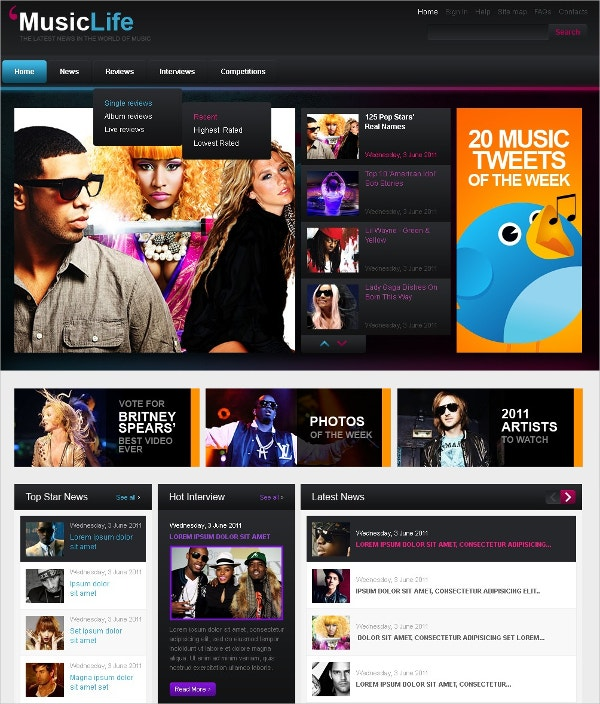 Music Blog WordPress Theme $70
