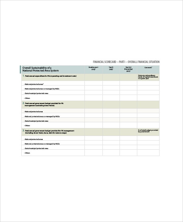 example financial business scorecard template