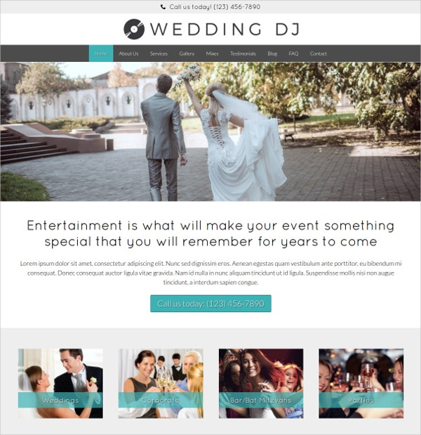 Premium WordPress Website Template For Wedding DJ's or Music