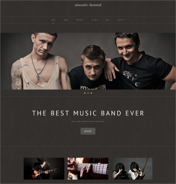 Music & Band Responsive WordPress Theme $75