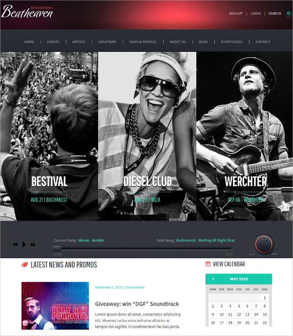 Music Artist WordPress Theme $54