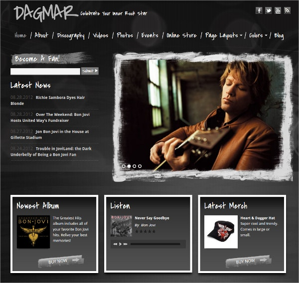 Premium WordPress Band Website Theme
