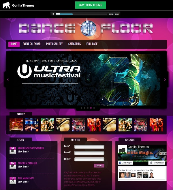 WordPress Responsive DJ, Music Theme