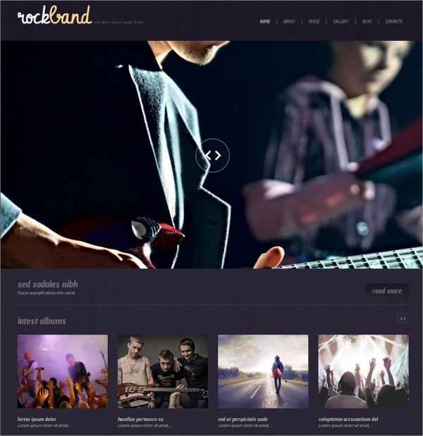 Music Band Responsive WordPress Theme $75