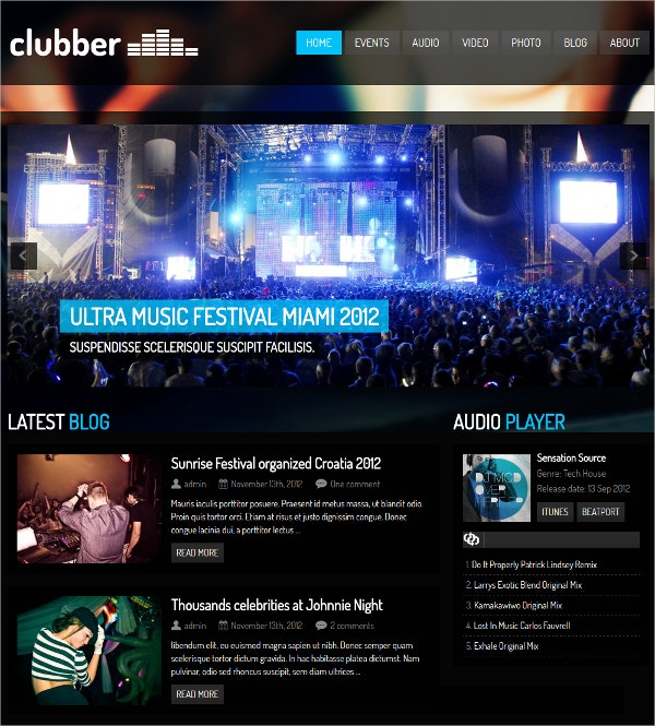Events & Music WordPress Theme $49