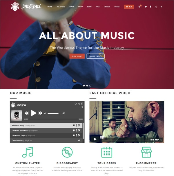 Professional Music WordPress Theme $59