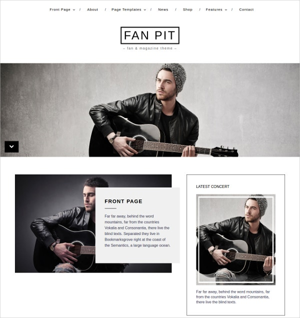 Modern Music WordPress Theme $60