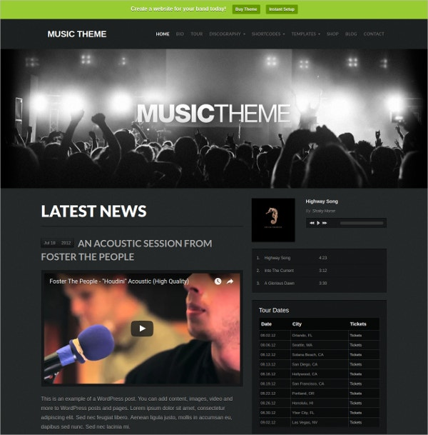Music Band WordPress Website Theme $69