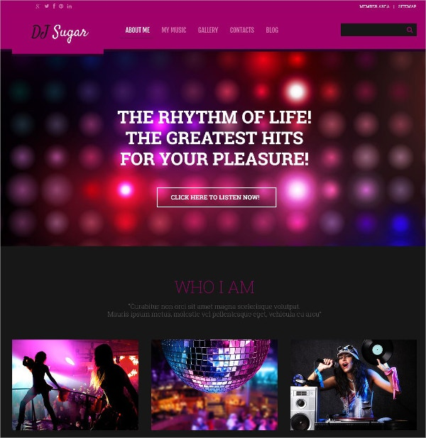 DJ, Music Responsive WordPress Theme $75