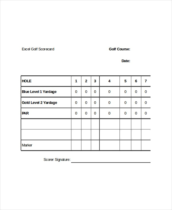 Golf Scorecard Templates  Free Sample Example Format