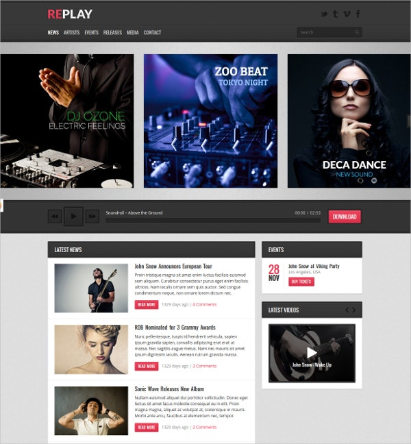 Responsive Music, Audio WordPress Theme $49