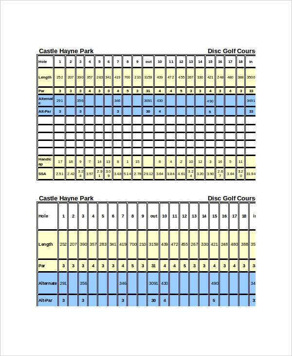 park disc golf course scorecard sample