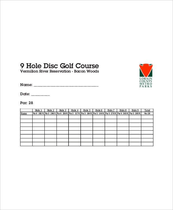 example disc golf scorecard